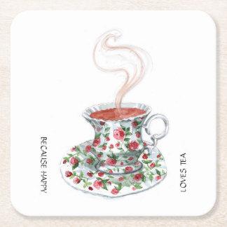 Porque té feliz de los amores - con la taza de té posavasos desechable cuadrado