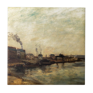 Port de Grenelle de Paul Gauguin Azulejo Cuadrado Pequeño