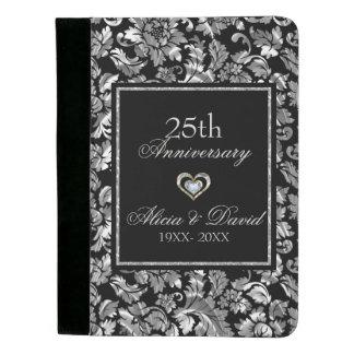 Portafolios Aniversario del damasco floral de la plata