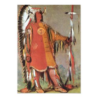 Portait del jefe indio Mato-Tope de George Catlin Invitación 12,7 X 17,8 Cm