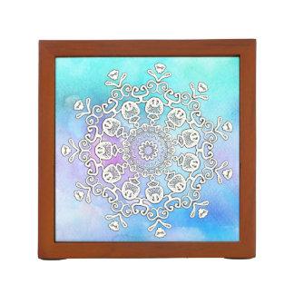 Portalápices Mandala blanca magnífica del *~* en acuarela de la