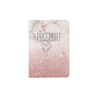 Portapasaportes Falso mármol color de rosa modificado para