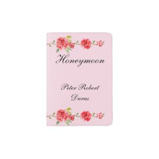 Portapasaportes Luna de miel elegante de los novios de los rosas