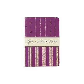 Portapasaportes Púrpura real personalizada y falsas rayas del