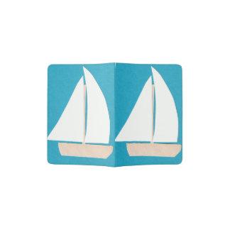Portapasaportes Tenedor del pasaporte de la turquesa con un velero