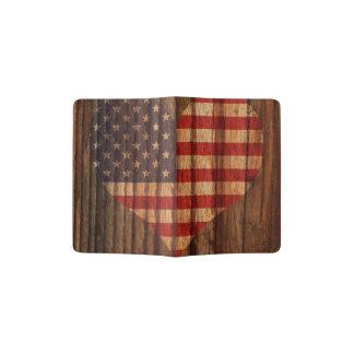 Portapasaportes Unido+Corazón de la bandera de los estados en el