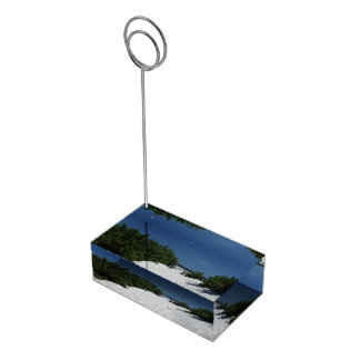 Portatarjetas blanco de la arena del ~ del cielo soporte de tarjeta de mesa