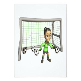 Portero de sexo femenino del fútbol invitación 12,7 x 17,8 cm
