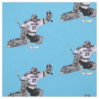 Portero del hockey sobre hielo con su dibujo tela