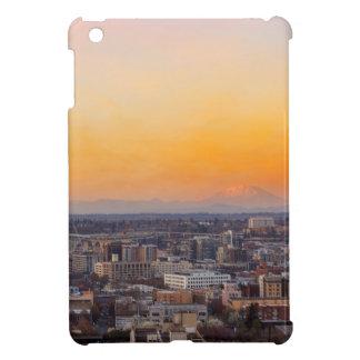 Portland O paisaje urbano y puesta del sol de
