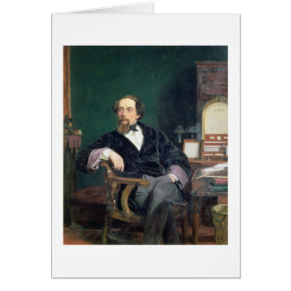 Portrait of Charles Dickens (oil on canvas) Greeting Card
