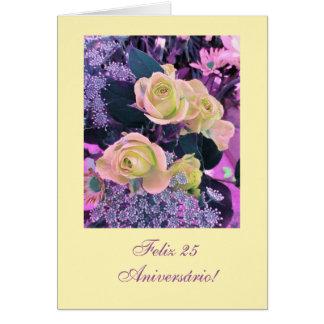 Portugués: (idade/edad) flores del cumpleaños tarjeta de felicitación