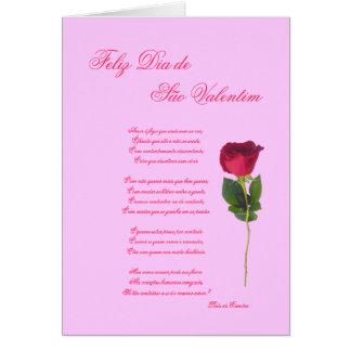 Portugués: poema e Rosa - el día de San Valentín Tarjeta De Felicitación