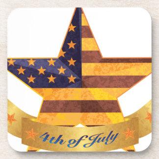 Posavasos 4to de la bandera y de la estrella de julio con