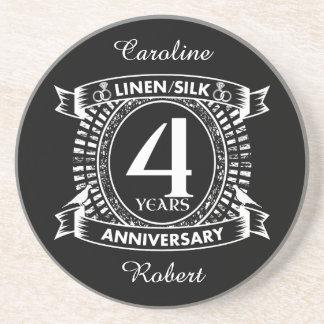 Posavasos 4to escudo apenado del aniversario de boda