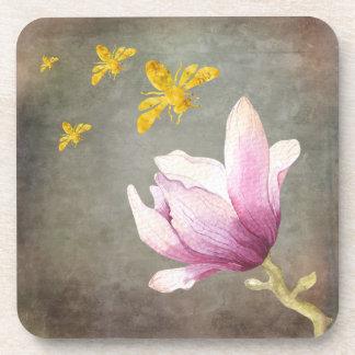 Posavasos Abejas de la flor y del oro de la acuarela