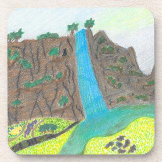 Posavasos Acantilado soleado de las caídas y prácticos de