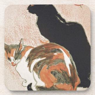 Posavasos Acuarela - 2 gatos - Théophile Alejandro Steinlen