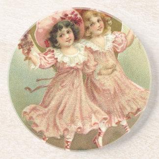 Posavasos Amistad rosada del el día de San Valentín del