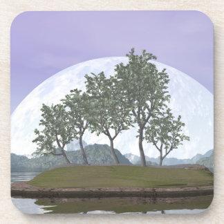 Posavasos Árbol con hojas liso de los bonsais del olmo - 3D