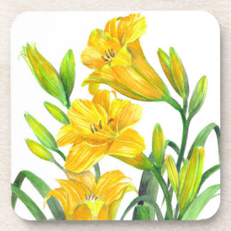 Posavasos Arte floral amarillo de los lirios de día de la