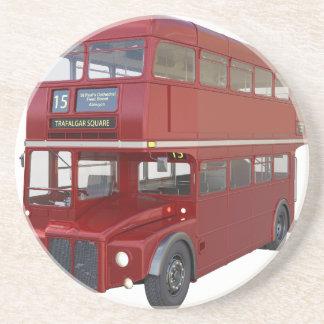 Posavasos Autobús rojo del autobús de dos pisos en perfil
