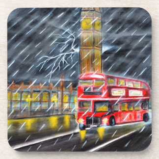 Posavasos Autobús rojo en lluvia de la noche de Londres