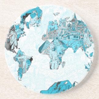 Posavasos azul 2 del mapa del mundo
