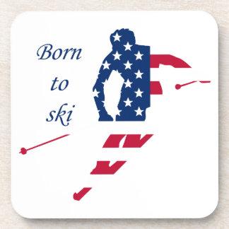 Posavasos Bandera de los E.E.U.U. del americano de esquí de
