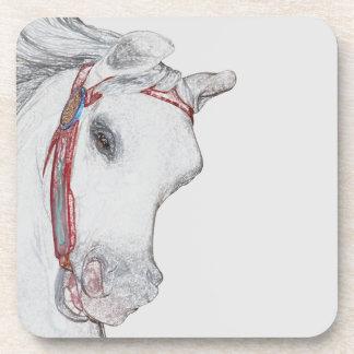 Posavasos Bebida gris del caballo del paseo del carrusel del