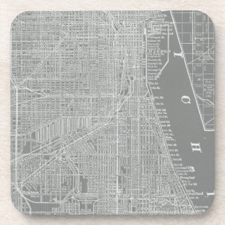 Posavasos Bosquejo del mapa de la ciudad de Chicago