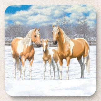 Posavasos Caballos de la pintura del Palomino en nieve