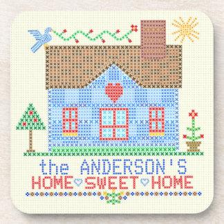 Posavasos Casa cruzada casera dulce casera de la puntada