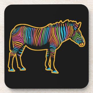 Posavasos Cebra colorida del arco iris