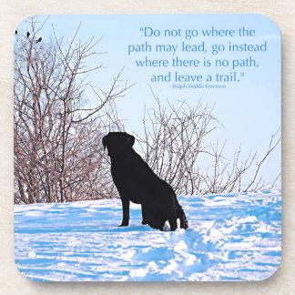 Posavasos Cita negra de Labrador - deje un rastro