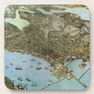 Posavasos Ciudad antigua de la opinión aérea del mapa de