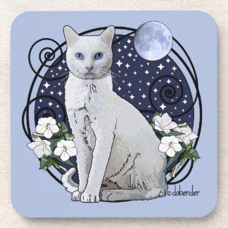 Posavasos Claro de luna, gato blanco y Mirabilis