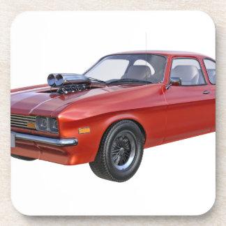 Posavasos coche del músculo de los años 70 en rojo