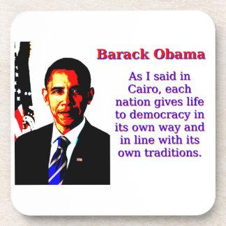Posavasos Como dije en El Cairo - Barack Obama