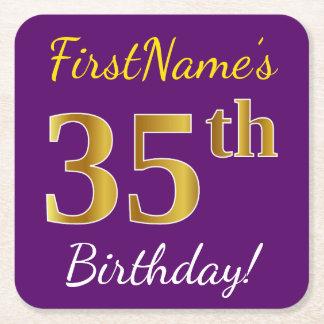 Posavasos Cuadrado De Papel 35to cumpleaños del oro púrpura, falso + Nombre de