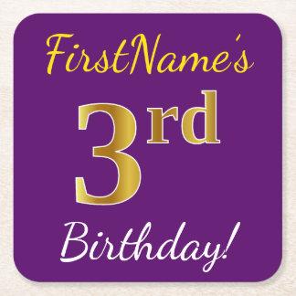 Posavasos Cuadrado De Papel 3ro cumpleaños del oro púrpura, falso + Nombre de