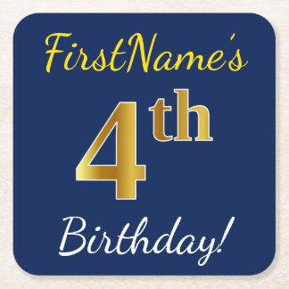 Posavasos Cuadrado De Papel 4to cumpleaños del oro azul, falso + Nombre de