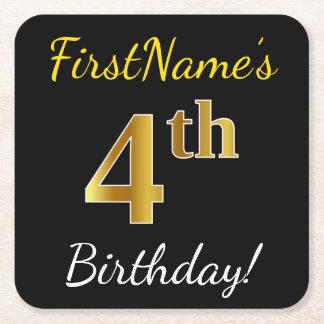 Posavasos Cuadrado De Papel 4to cumpleaños del oro negro, falso + Nombre de