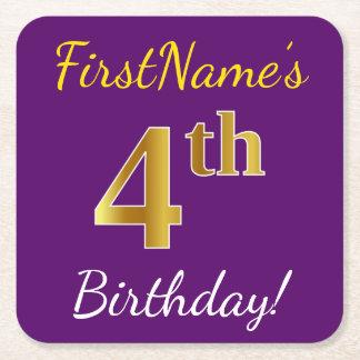 Posavasos Cuadrado De Papel 4to cumpleaños del oro púrpura, falso + Nombre de