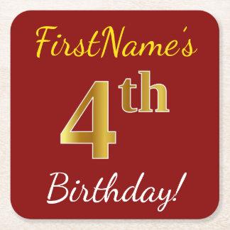 Posavasos Cuadrado De Papel 4to cumpleaños del oro rojo, falso + Nombre de