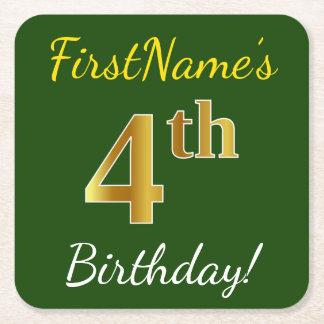 Posavasos Cuadrado De Papel 4to cumpleaños del oro verde, falso + Nombre de