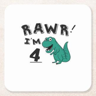 Posavasos Cuadrado De Papel 4to Regalo del dinosaurio del cumpleaños para los