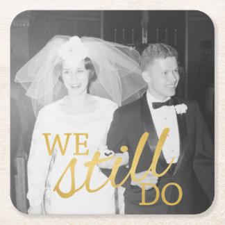 Posavasos Cuadrado De Papel 50.o Foto personalizada del aniversario de boda de