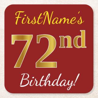 Posavasos Cuadrado De Papel 72.o cumpleaños del oro rojo, falso + Nombre de