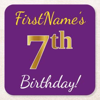 Posavasos Cuadrado De Papel 7mo cumpleaños del oro púrpura, falso + Nombre de